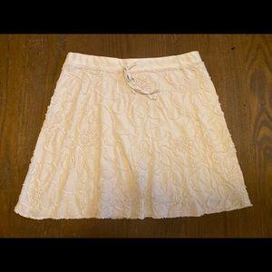 Max Studio Cream Skirt Floral Design Large